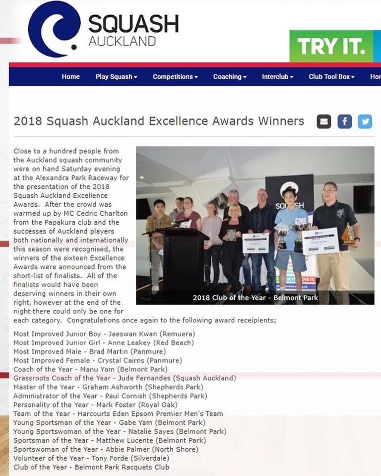 Belmont Park 2018 Squash Auckland Club of the year winner
