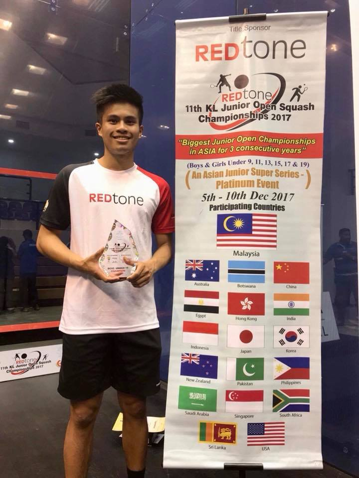 Matthew Lucente winning the 2017 RedTone under 19 title in Malaysia